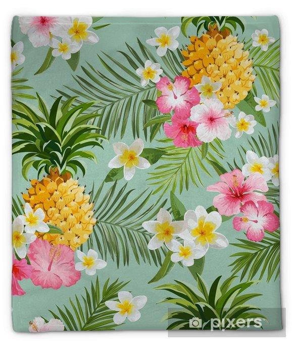 Pluche deken Tropische bloemen en ananasachtergrond - uitstekend naadloos patroon - Bloemen en Planten