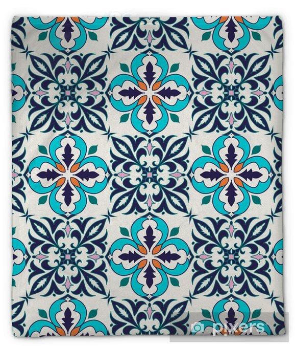 Pluche deken Vector naadloze textuur. Mooie gekleurde patroon voor design en mode met decoratieve elementen - Grafische Bronnen