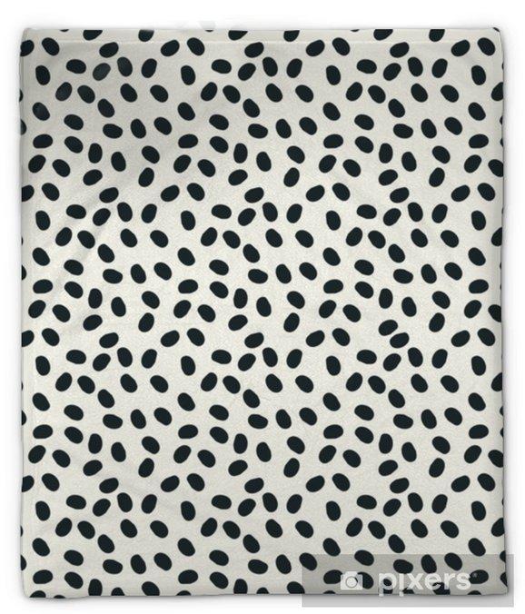 Pluche deken Zwart en wit stippen vector naadloze repeapt achtergrond - Grafische Bronnen