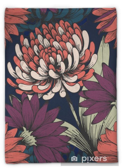 Plüschdecke Blumen im Nachtgarten. Handzeichnung. elegantes Blumenmuster - Pflanzen und Blumen