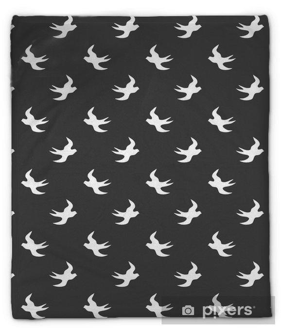 Plüschdecke Stilvolles abstraktes nahtloses Muster mit schwarzer grafischer Schwalbe. - Landschaften