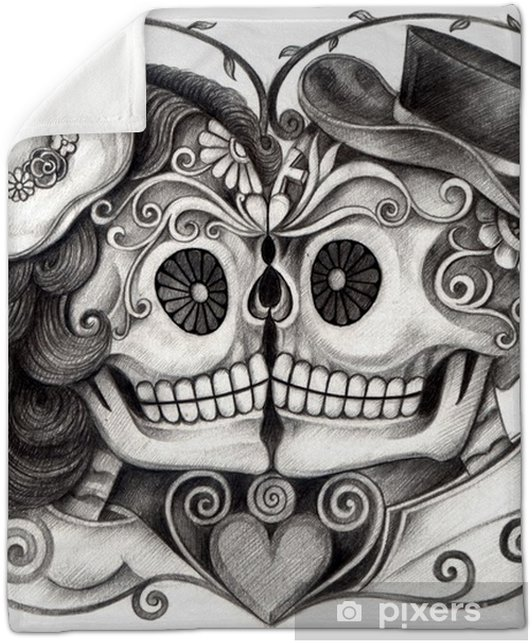 e0d470e37 Art Skull Day of the dead.Art design skull wedding in love action smiley  face day of the dead festival hand pencil drawing on paper. Plush Blanket