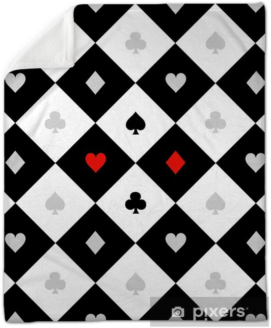 Card Suits Black White Chess Board Diamond Background Vector Illustration  Plush Blanket
