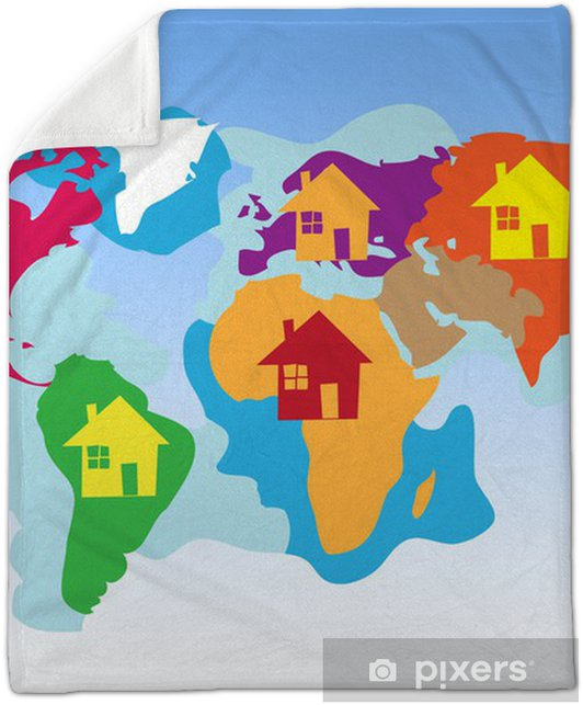 Children's map of the world Plush Blanket • Pixers® • We live on