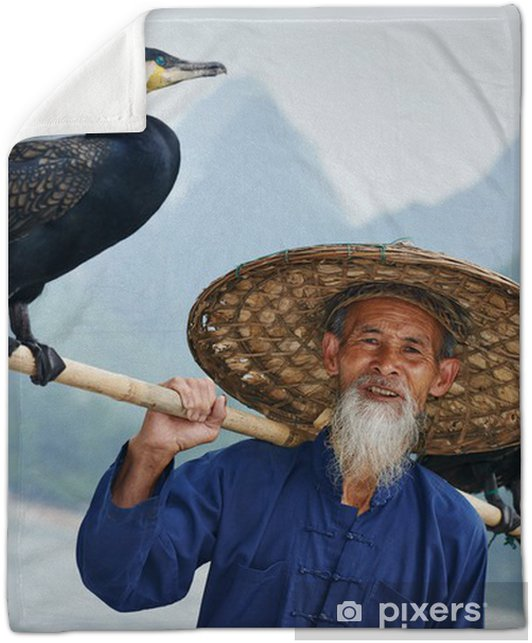 21fb338653e Chinese old person with cormorant for fishing Plush Blanket • Pixers ...