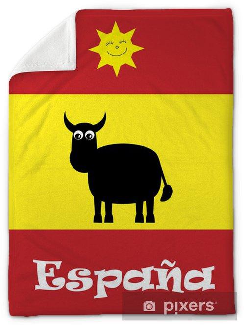 Cute Spanish Bull & Smiling Sun On Spanish Flag Vector