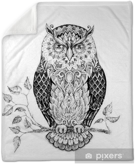 Drawing owl with beautiful patterns Plush Blanket - Animals