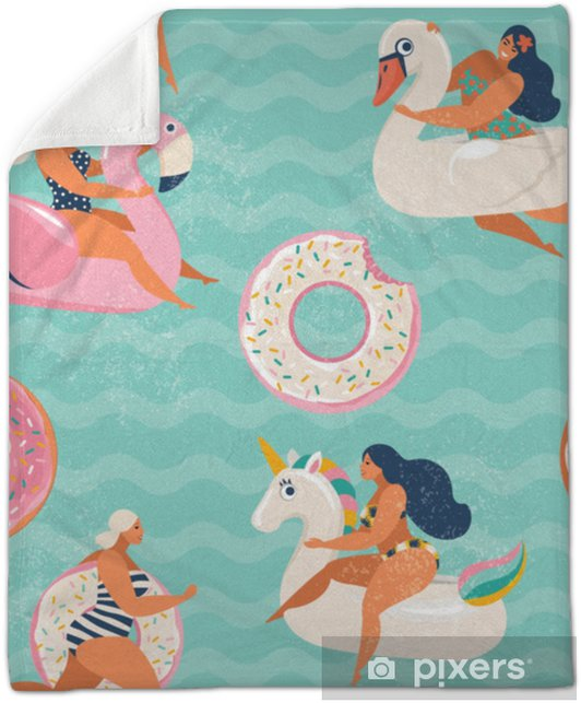 Flamingo, unicorn, swan and sweet donut inflatable swimming pool floats  Vector seamless pattern. Plush Blanket