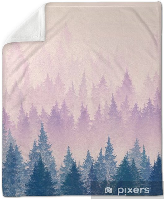 Forest in the fog. Minimalistic illustration. Digital drawing. Plush Blanket - Landscapes
