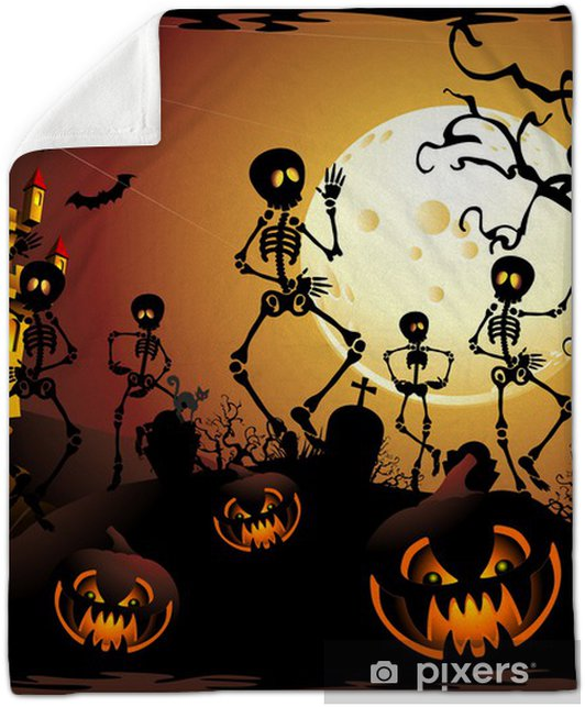 Castello Halloween.Halloween Scheletri E Castello Halloween Skeleton And Castle Plush Blanket
