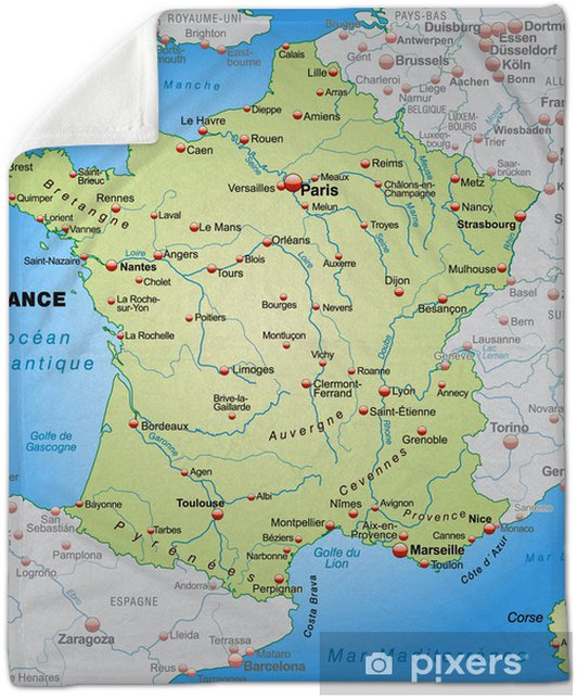 Map Of France With Neighbouring Countries.Map Of France With Neighboring Countries Plush Blanket
