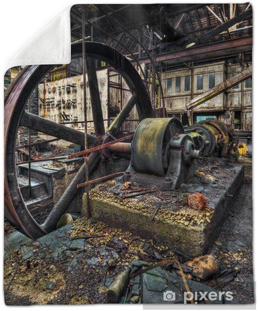 Old machinery in derelict workshop Plush Blanket