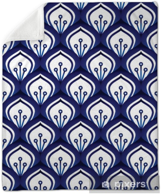 Porcelain pattern seamless Plush Blanket - Graphic Resources