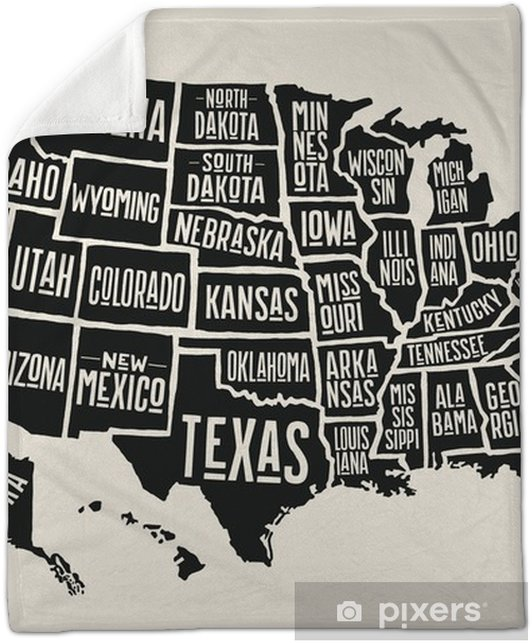 Poster map of United States of America with state names. Black and white  print map of USA for t-shirt, poster or geographic themes. Hand-drawn black  ...