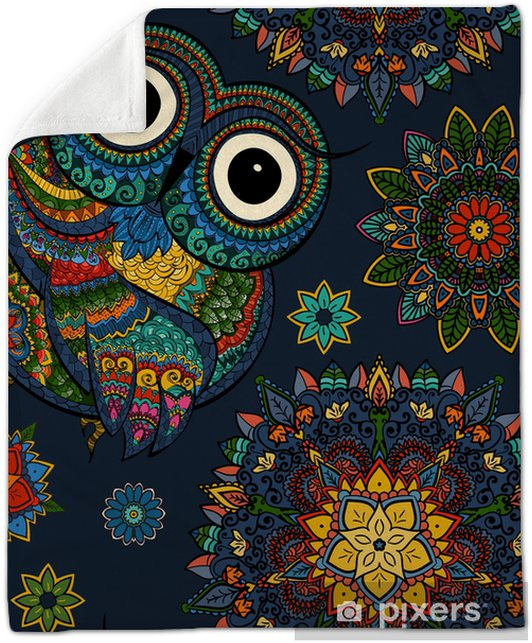 9e690ee34 Seamless pattern from ornamental color owl with flowers and mandala.  African, indian, totem, tattoo design.