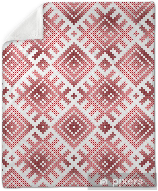 Seamless Russian folk pattern, cross-stitched embroidery imitation   Patterns consist of ancient Slavic amulets  Swatch included in vector file   Plush