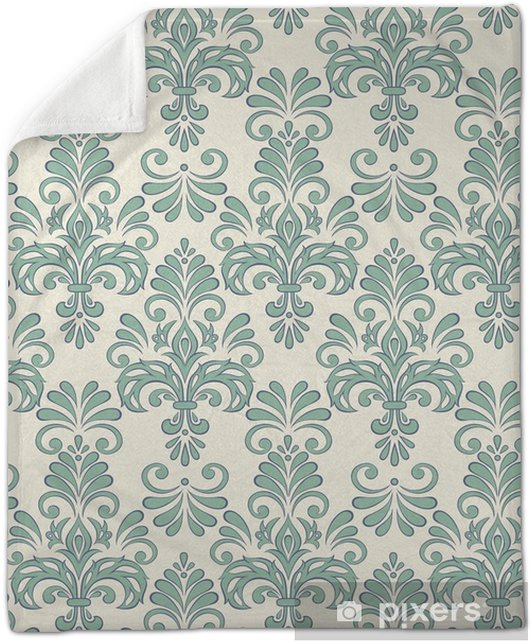 Seamless Vector Floral Wallpaper Baroque Style Pattern Plush Blanket