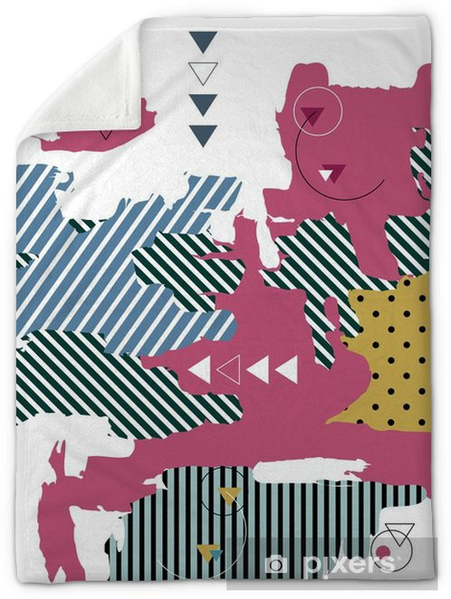 Trendy geometric background  Retro style texture  Memphis design Plush  Blanket