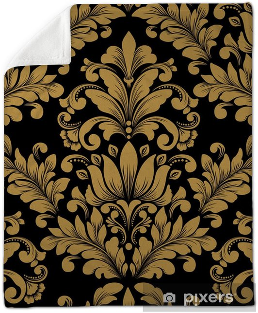 Vector damask seamless pattern element. Classical luxury old fashioned damask ornament, royal victorian seamless texture for wallpapers, textile, wrapping. Exquisite floral baroque template. Plush Blanket - Graphic Resources