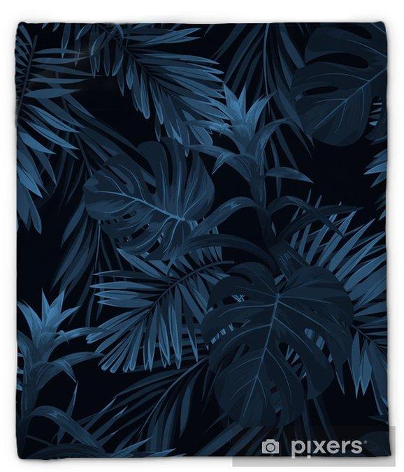 Plyshfilt Exotisk tropisk vrctor bakgrund med hawaiian växter och blommor. sömlöst indigo tropiskt mönster med monstera och sabala palmblad, guzmania blommor. - Växter & blommor