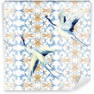 Abwaschbare Tapete nach Maß Chinesische Aquarell nahtlose Muster