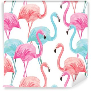Abwaschbare Tapete Flamingo Aquarell Muster