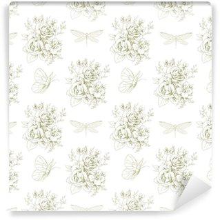 Abwaschbare Tapete nach Maß Grafisches nahtloses mit Blumenmuster mit Schmetterlingen und Libellen 1