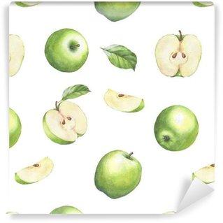 Abwaschbare Tapete nach Maß Hand gezeichnetes nahtloses Muster mit Aquarellgrünäpfeln. Äpfel und Blätter auf dem weißen Hintergrund.