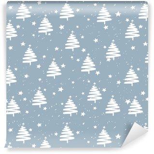 Abwaschbare Tapete nach Maß Handgemachtes Tannenbaumsterne-Schnee-Vektormuster. Frohes neues Jahr und Weihnachtsferien Hintergrund Banner.