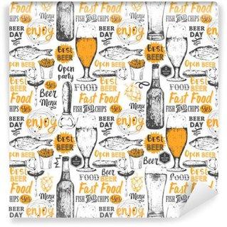 Abwaschbare Tapete nach Maß Muster mit Bier, Apfelwein und Snack in Sketch Stil.
