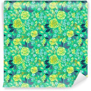 Abwaschbare Tapete nach Maß Nahtlose Muster mit gelben Rosen und blauen kleinen Blüten mit Blättern auf einem türkisfarbenen Hintergrund