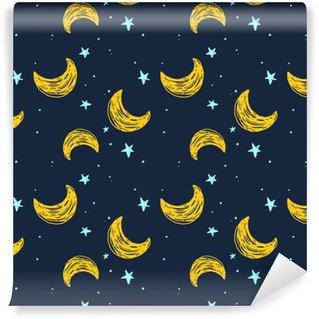 Abwaschbare Tapete nach Maß Nahtlose Muster mit Mond und Sternen
