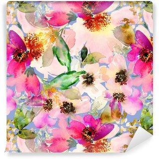 Abwaschbare Tapete nach Maß Nahtlose Sommer Muster mit Aquarell Blumen handgemacht.