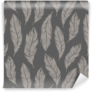 Abwaschbare Tapete nach Maß Nahtlose Vektor-Muster mit grauen Feder Symbole