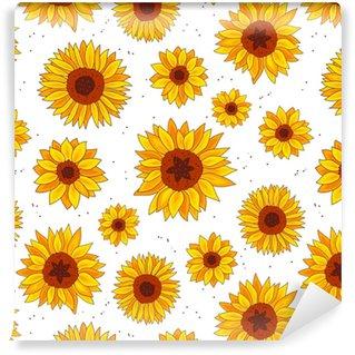 Abwaschbare Tapete nach Maß Nahtloser Vektor-Muster von Sonnenblumen