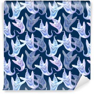 Abwaschbare Tapete nach Maß Nahtloses Muster der Geister. Halloween. gezeichnete Illustration des Aquarells Hand dunkel blauer Hintergrund.
