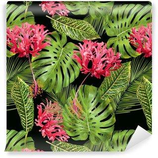 Abwaschbare Tapete nach Maß Nahtloses Muster der tropischen Blume