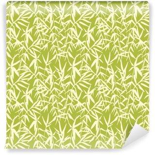 Abwaschbare Tapete nach Maß Nahtloses Muster des Bambusses auf grünem Hintergrund in der japanischen Art, helle frische Blätter, Zen-Ähnliches realistisches Design, Vektorillustration
