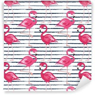 Nahtloses Muster mit dunkelblauen Schmutzstreifen und rosa Flamingo. Rosa Flamingo Vektor Hintergrunddesign für Stoff und Dekor. trendige Vektor-Illustration.