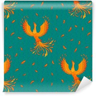 Abwaschbare Tapete nach Maß Nahtloses Muster mit Phoenix