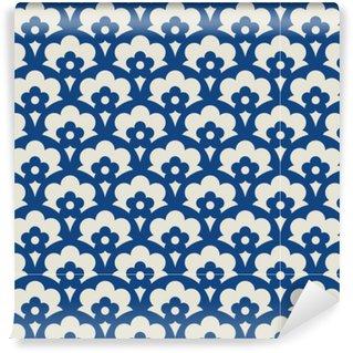 Abwaschbare Tapete nach Maß Nahtloses Retro Muster mit floralen Elementen