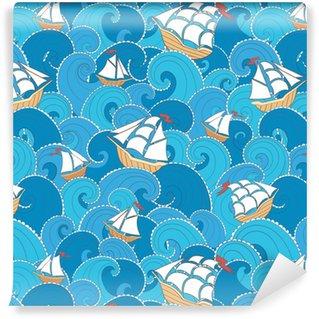Abwaschbare Tapete nach Maß Nautische nahtlose Muster. Schiffe und Wellen Hintergrund. Cartoon Meer Muster.
