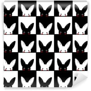 Abwaschbare Tapete nach Maß Schwarze weiße Kaninchenschachbrett-Hintergrundvektorillustration