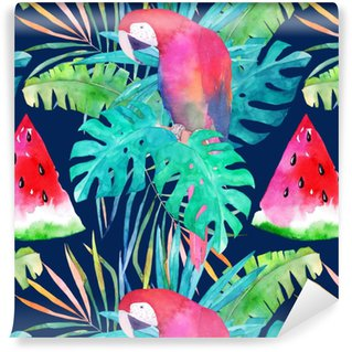 Abwaschbare Tapete nach Maß Sommermuster mit Aquarellpapagei, Palmblättern und Wassermelone. bunte Illustration