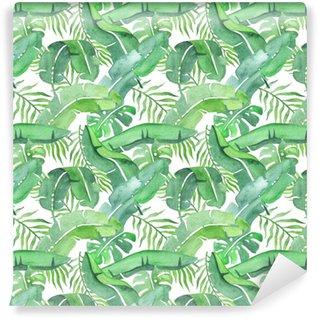 Abwaschbare Tapete nach Maß Tropische Blätter ohne Muster