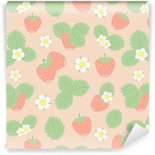 Afwasbaar behang, op maat gemaakt Aardbeien bessen, bladeren en bloemen vector naadloze patroon