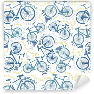 Afwasbaar behang, op maat gemaakt Abstract naadloos patroon met fietsen. wandelen fietsen. wielersport. modetrend patroon op de stof. afdrukken met fietsen.