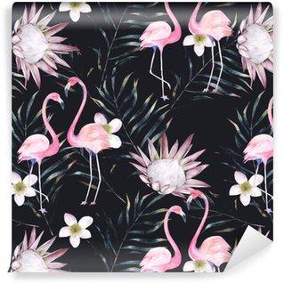 Aquarel Afrikaanse protea, flamingo en tropische bladeren patroon. naadloos motief met geschilderde bloemenelementen op zwarte achtergrond voor verpakking, behang, stof. hand getrokken illustratie
