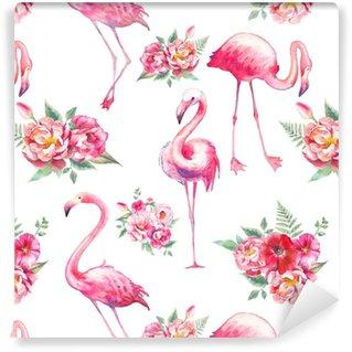 Aquarel flamingo en bloemen naadloze patroon. handgeschilderde bloementextuur met heldere exotische vogels op witte achtergrond. mode behangontwerp