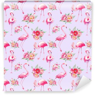 Afwasbaar behang, op maat gemaakt Aquarel flamingo en bloemen naadloze patroon. handgeschilderde bloementextuur met heldere exotische vogels op witte achtergrond. mode behangontwerp